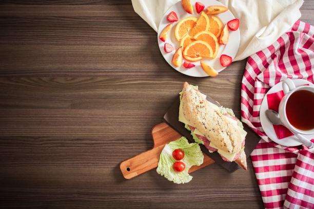 italian sandwich with fruit